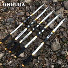 GHOTDA New Design White Spinning Fishing Rod FRP + Carbon Fiber Telescopic Fishing Rods 2.1-3.6M