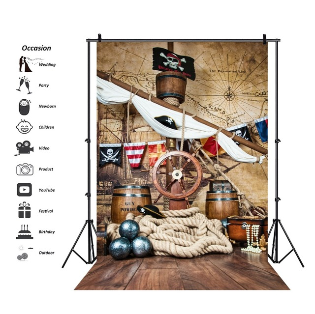 Pirate Birthday Backdrops For Photography Ship Deck World Map Party Baby Child Portrait Photo Backgrounds Photocall Photo Studio