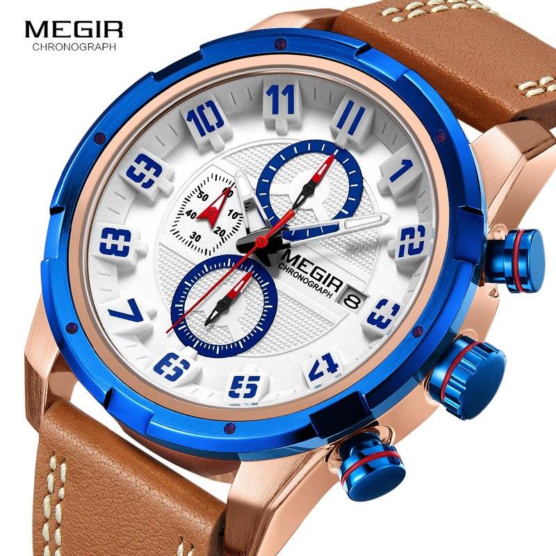 Mens Watches To Luxury Brand Men Leather Sports Watches MEGIR Men's Quartz Waterproof Military Wrist Watch цена 2017