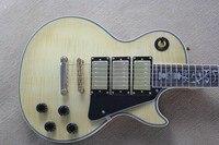 Wysoka jakość New Arrival * Płomień Maple Top G PR Klienta Tree of Life Podstrunnica inlay Kremowy żółty Gitara Elektryczna