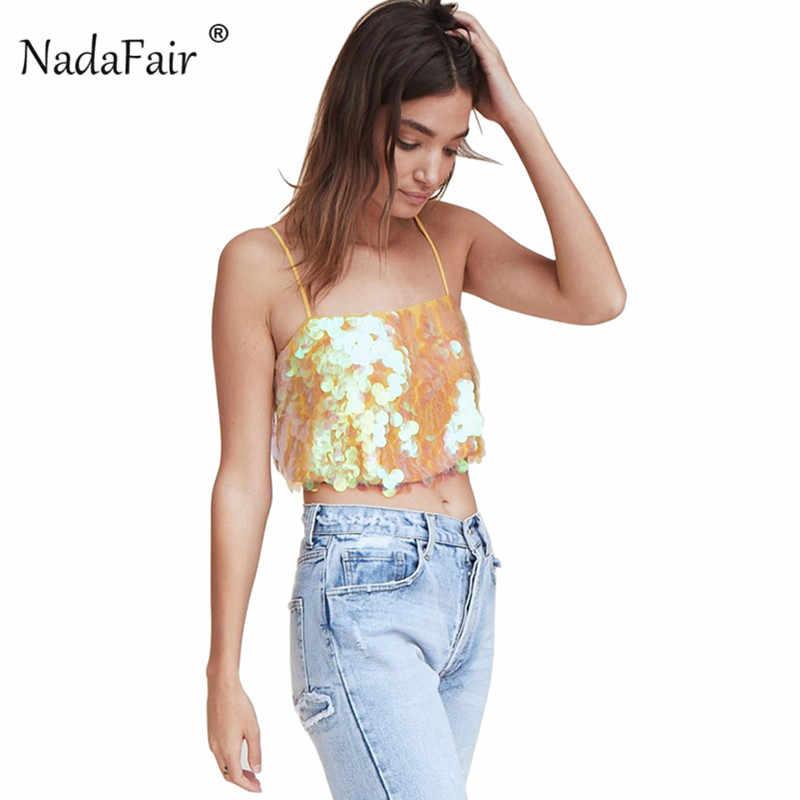 Nadafair sequin camis women summer sexy backless sleeveless strap crop tops  female slim short tank tops f81030bcaf0b