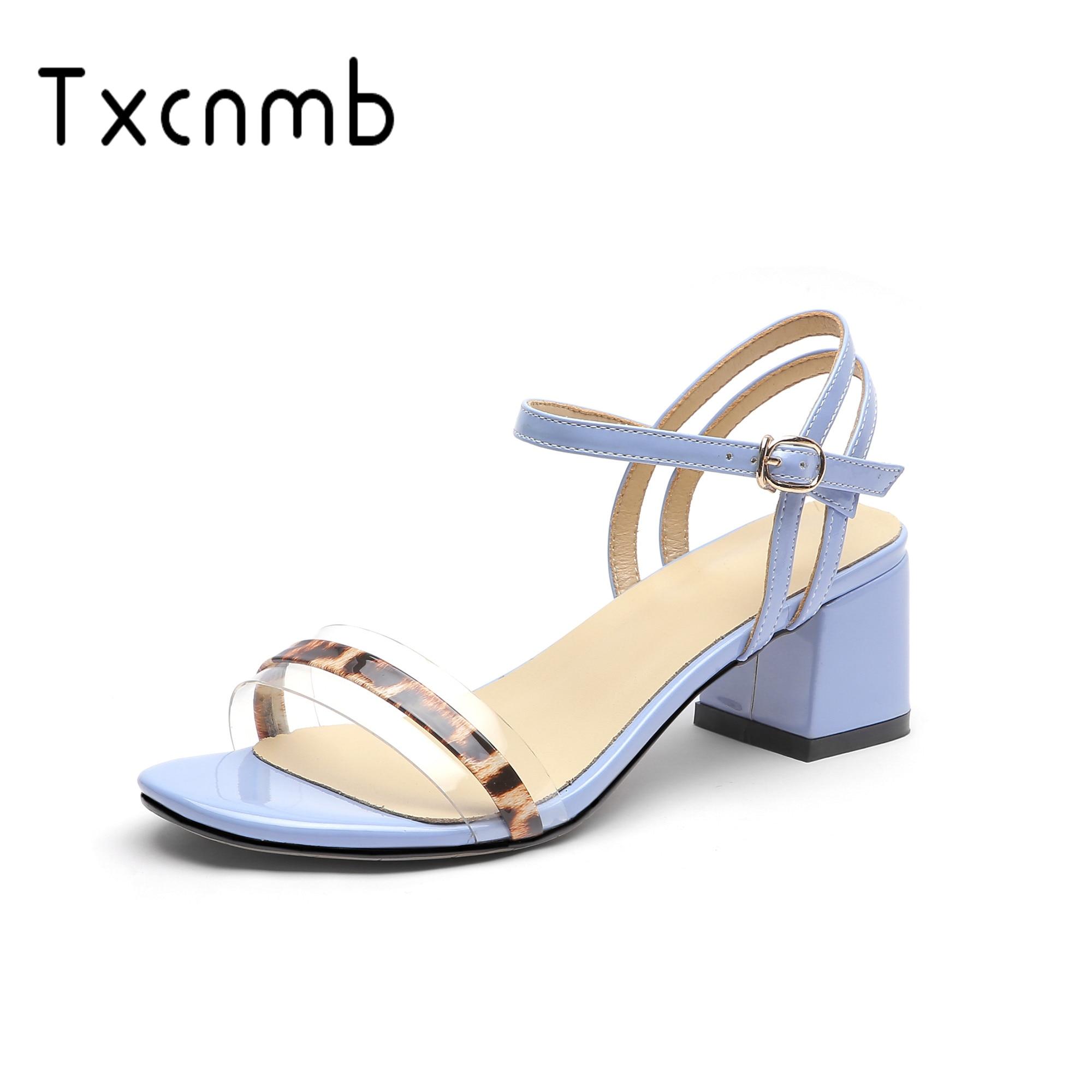 TXCNMB 2019 marque sandales femmes en cuir véritable mode chaussures femme sandales Rome pompes à talons hauts mariage tongs sandale