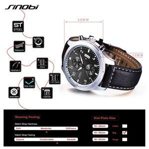 Image 3 - SINOBI Mens Chronograph Sport Horloges Mannen Militaire Lederen Horloge Luxe Merk Mannelijke Quartz Klok Horloges Relogio Masculino