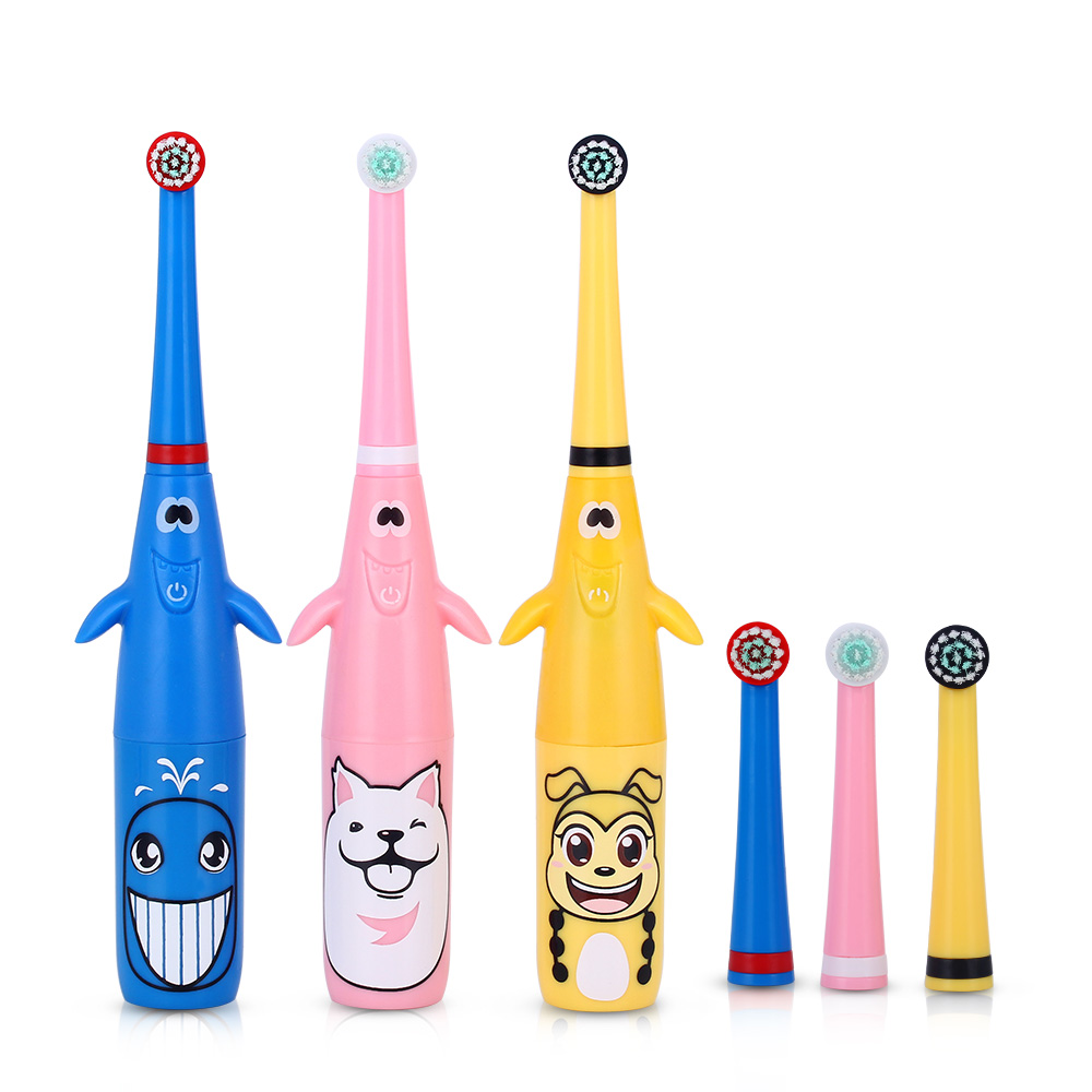 3D Children Electric Toothbrush Cartoon Pattern Rotating Battery Type Tooth Brush + Replacement Heads for Kids Teeth Whitening ckeyin cartoon dolphin children music electric toothbrush led tooth brush 22000 min kids sonic toothbrush electric 3 brush heads