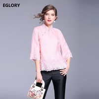 Vintage Blouse 2018 Spring Summer Fashion High Quality Women S Qipao Style Grey Pink Blouses Organza