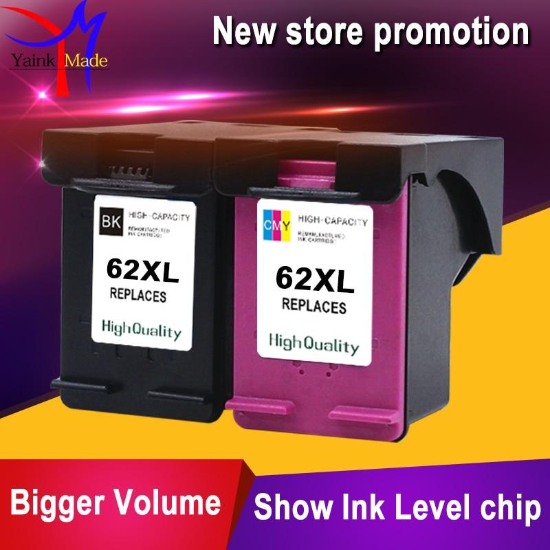 HP 62XL mürekkep kartuşu için 2PK Yeniden Üretildi HP ENVY 5640, 5642, 5643, 5644, 5646, 5660, 764 için kullanılan HP62 mürekkep püskürtmeli kartuş için
