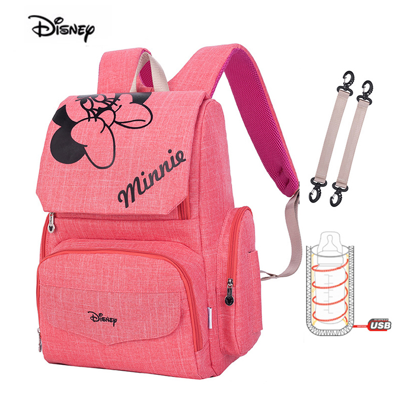 Disney Minnie New Mummy Diaper Bag Fashion Double Shoulder Waterproof Mother Bag For Baby Nappies USB