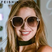 FEISHINI Gradient Oversized Oval retro Sunglasses Women Plastic Transparent Fashion Mirror Unisex Korea Men Big Frame