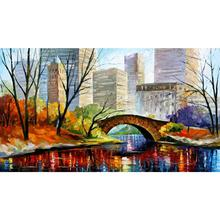Contemporary art central park new york knife oil painting canvas beautiful landscape pictures for wall decor