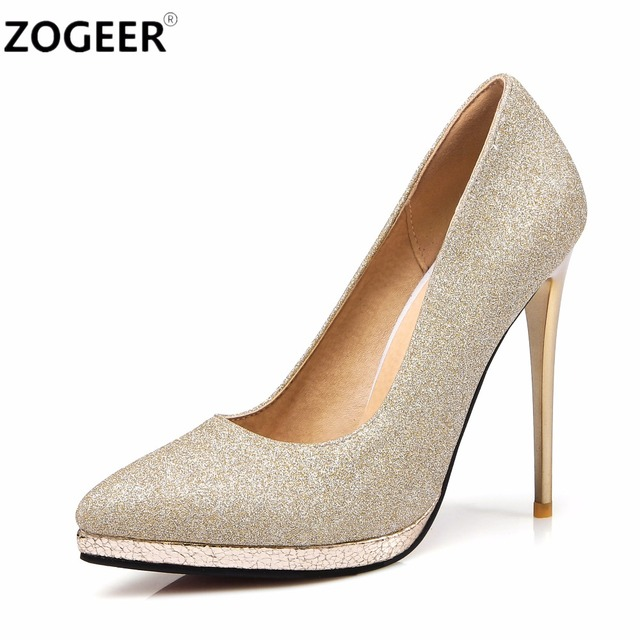 Zogeer Plus Size 45 High Heels Women Pumps Fashion Gold Silver Wedding Shoes Woman Office Dress