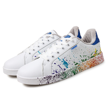 Extra Large Size US 11 12 EU 45 46 Boys White Shoes Ink Painting Short Plush Inner Mens Shoes Mixed Colors Man Winter Flat Shoes