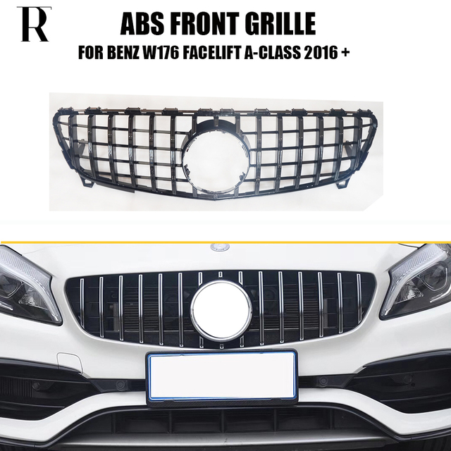 W176 Replaced GT Style ABS Front Bumper Grill Grille for Mecedes Benz W176 Facelift A180 A200 A260 A45 2016 UP ( No Star Logo )