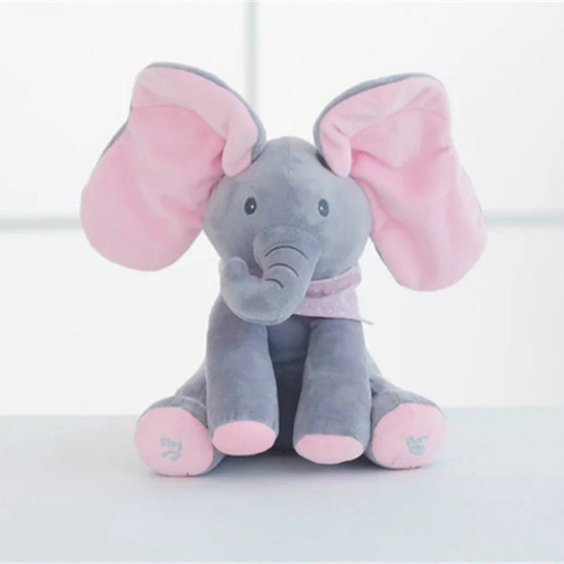 1PC 30cm Peek A Boo Elephant Bear Stuffed Animals Plush Doll Play Music Elephant Educational Anti