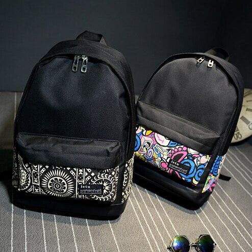 2018 Canvas Printing Women Men s Backpack Black School Bags For Teenagers  Girls Shoulder Bags Schoolbag Mochilas-in Backpacks from Luggage   Bags on  ... 76ddf41ec1ae