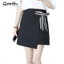 Qooth Preppy Style Mini Skirt Women Lace Up Bow Elegant Work Skort 2018 Spring Summer New Brief High Waist White Skirt 2XL QH989