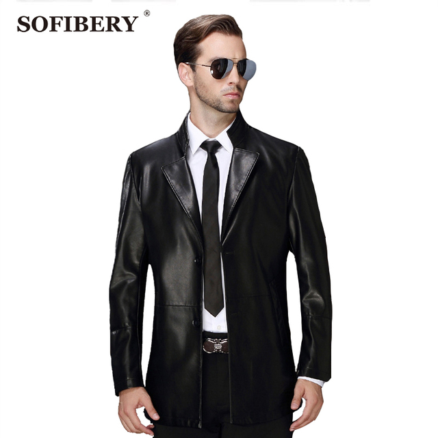 SOFIBERY Men's Coats & Jackets Men's Leather & Suede Men's fashion casual style leather men's leather Slim jacket  Y-6188
