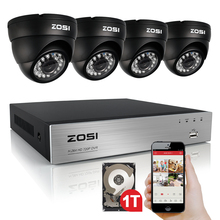 ZOSI CCTV System HD 720P 8CH DVR 4PCS 1.0MP 720P AHD Dome CCTV Camera 8 Channel Video Surveillance Kit 1TB HDD