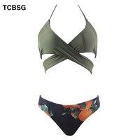 TCBSG 2019 Push Up Swimwear Bikinis Sexy Women Swimsuit Print Summer Bandeau Bikini Printed Bikini Set Solid Beach Bathing Suits