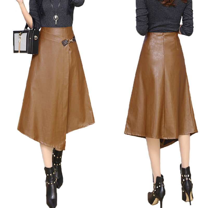 2017 Autumn Winter Khaki Faux Leather Asymmetrical Mid-Calf Skirts Fashion High Waist Pack Hip Metal Button Dignified Skirts