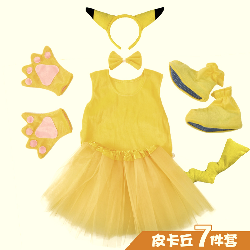 Halloween Party Cosplay Enfants PokeMon Pikachu Oreilles Tutu Chapeaux Gants pantalon Avec la Queue Ensemble Robe Up Costume Kit Kid Fille garçon