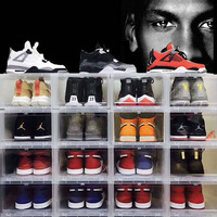 6pcs/set Large Drop Front basketball shoe box Shoes Organizer Drawer Transparent Plastic Shoe Storage Box Display wall