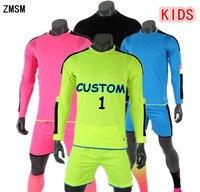 ZMSM Long Soccer Goalkeeper Uniforms Kids Soccer Jerseys Kit Football Goalkeeper Doorkeepers Training Suit For Children