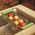 House Scenery Telescopic Kitchen Sink Dish Rack Insert Countertop Storage Organizer Tray Stainless Steel Folding Single Shelves