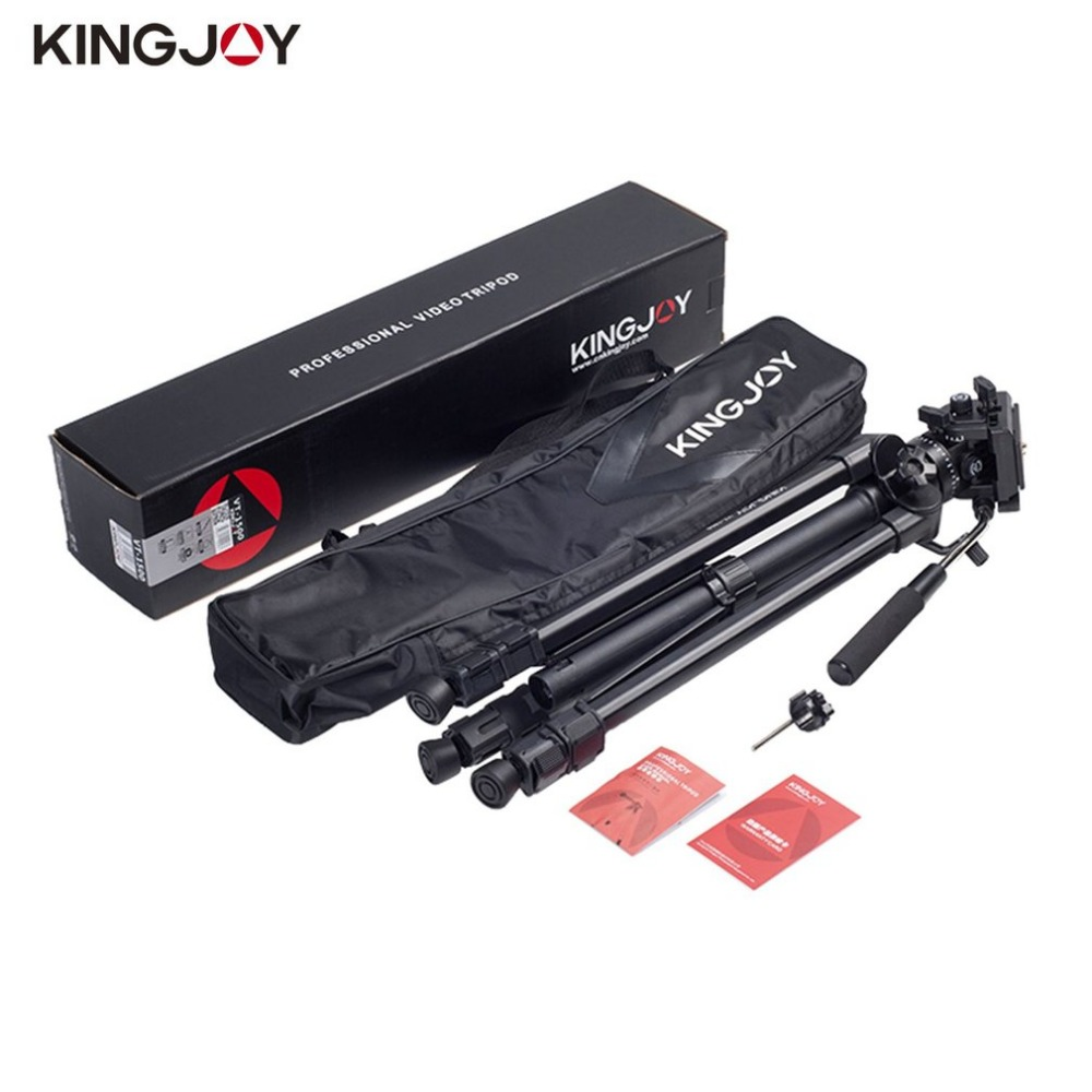 Kingjoy VT-1500 166cm/5.4ft Video Camera Tripod 3 Section Flip Lock Video Tripod With Fluid Damping Head For Camcorder weifeng wf718 video tripod with fluid head 1880mm 3 section