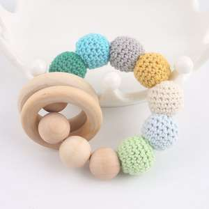 Bracelet Wood-Ring Baby-Rattle-Toy Crochet Materials Gifts Bead Crafts DIY