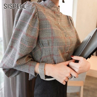 SISPELL 2017 Autumn Striped Women S Shirt Blouse Top Lantern Sleeve Bow Stand Bow Slim Plus