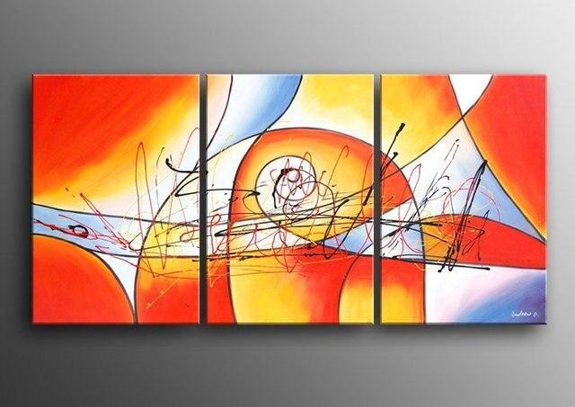 100% pintado a mano abstracto color cálido línea abstracta pared ...