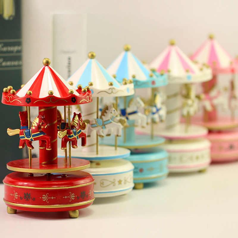 Музыкальная карусель коробка подарок на день рождения девушки Ремесло Ювелирные изделия Творческий мультфильм Детские игрушки Музыка декоративная коробочка аксессуары