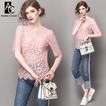 spring summer runway designer womans clothing set pink lace blouse t-shirt blue jeans pink strip side fashion casual pantsuit