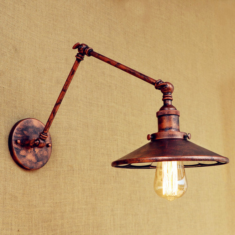 Rust Edison Style Loft Industrial Wall Light Fixtures Home Lighting Arandela LED Retro Vintage Wall Lamp Sconce Lampara Pared купить