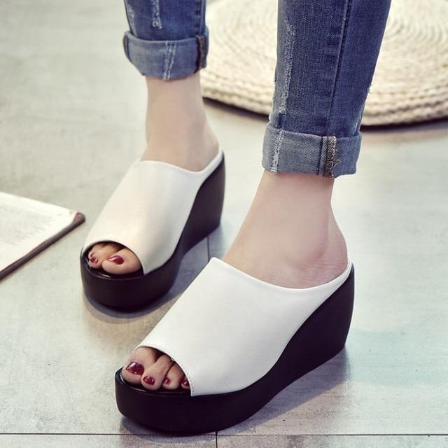 32cb7c9b717 NAUSK Hot Sale Women Fashion Leisure Shoes Women Platform Wedges Fish Mouth  Sandals Thick Bottom Slippers Summer Sandals