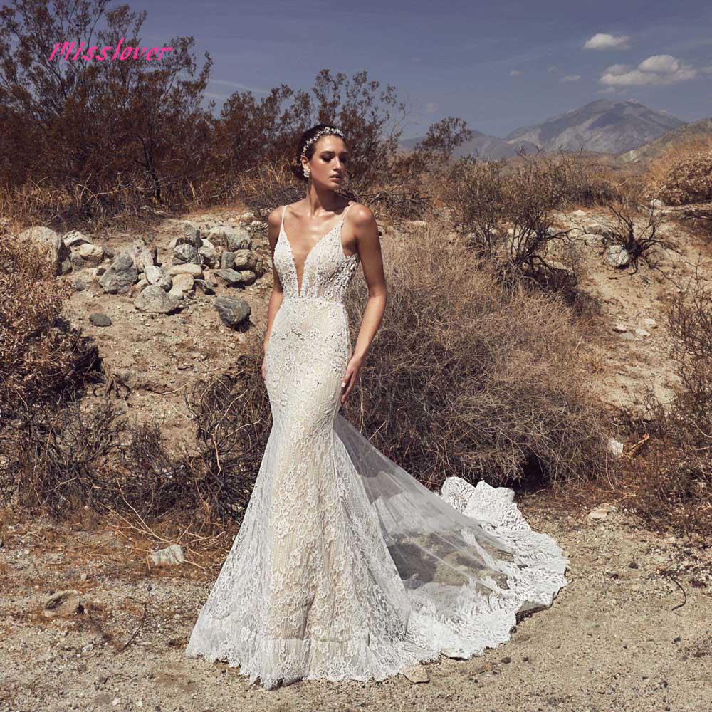 Vestido De Noiva Luxury Vintage lace Mermaid Bride Wedding Dress 2019 new Bridal Gown Sexy V neck backless Robe de mariee in Wedding Dresses from Weddings Events