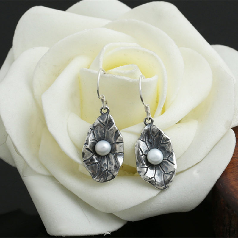 One Pair Thai Silver 925 Lotus Natural Pear Drop Earrings Women Elegant Female 925 Sterling Silver Jewelry Vintage China Style pair of characteristic punk style silver colored earrings for women