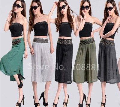 2016 Nuevo Verano Capris de Las Mujeres Pantalones Cortos de Talle Alto Grande Plus Size Pierna Ancha Pantalones Mujer Pantalones Cortos feminino 7 colores