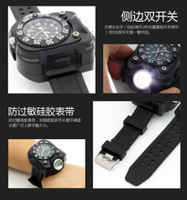 bright watch light flashlight with compass outdoor sports mens fashion Waterproof LED rechargeable wrist lamp torch