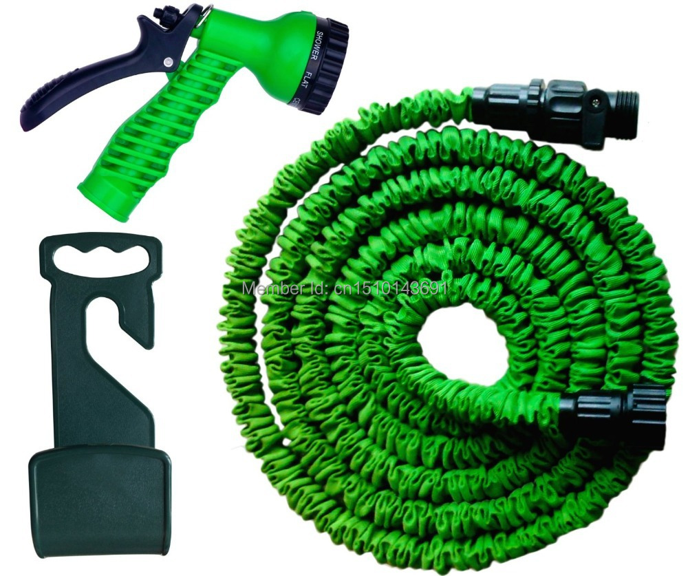 100 Ft Super Strong Expandable Garden Hose With Spray Nozzle Green In Garden Hoses Reels From
