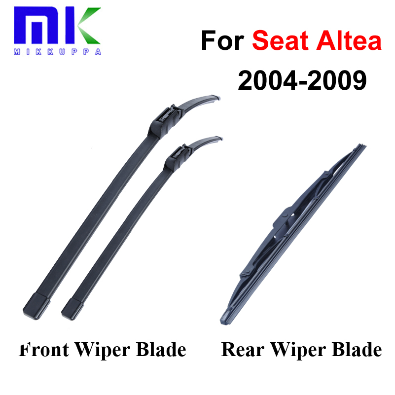 Group Rubber Front And Rear Wiper Blades For Seat Altea 2004 2009 Windscreen Wipers Car Accessories