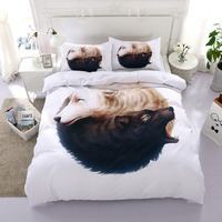 3PCS Howling Wolf Yin Yang Bed Cover Home Textile Wolf Bed Linen 3D Animal High Quality 3pcs Duvet Cover And Pillow Case F