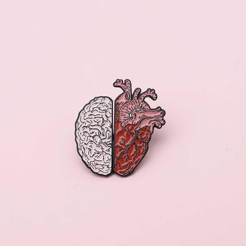 Эмалированная булавка в форме сердца и сердца, разумный чувственный мешочек для брошек одежды, Нагрудный значок, любовные медицинские ювелирные изделия, подарок для доктора