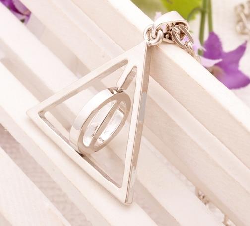 Hot HP Deathly Hallows revolve triangle geometry pendant necs