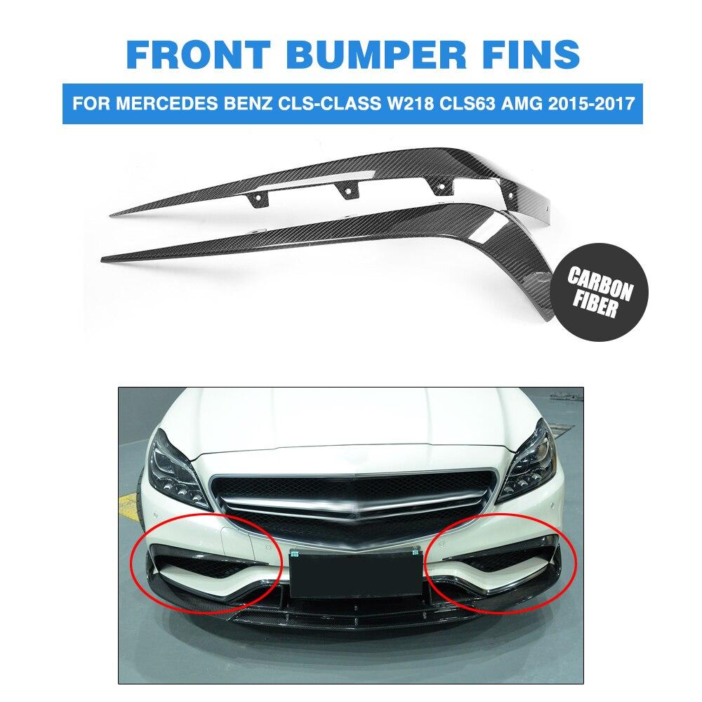 Carbon Fiber front bumper wing Canards Fins for Mercedes Benz CLS-Class W218 CLS63 AMG Sedan 4-Door 2015-2017 2PCS/Set