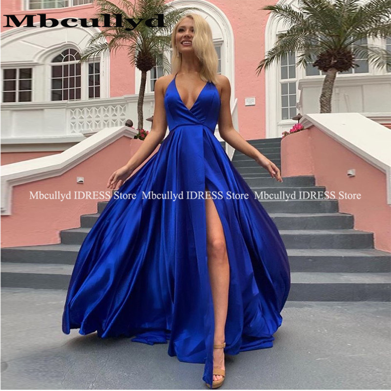 Royal Blue Prom Dresses 2019 New Elegant Long Side Split Dress Evening Wear Plus Size Cheap Sale Girls Formal Pageant Gala Jurke