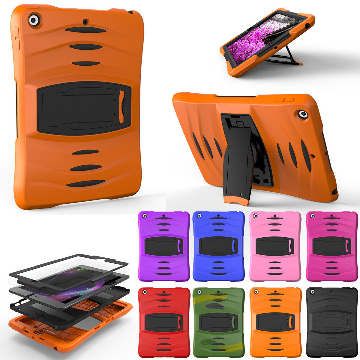 For Samsung Galaxy Tab A a6 10.1 SM-T580 T585 T580N Assembly Heavy Duty Cover Shock Proof Tablet Silicone Hard Case Stand Case heavy duty silicone hard case cover protector stand tablet for samsung galaxy tab a a6 10 1 2016 t585 t580 sm t580 stylus