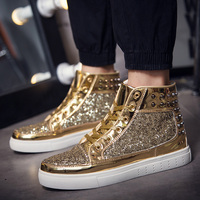 Couples High Top Shoes Men S 2016 New Trend Shoes Personality Rivets Casual Shoes Gold Board