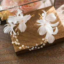 Himstory Romantic Handmade Feather Bridal Hairband Wedding Hair Accessories Pearl Headpiece Prom Headbands Hairbands