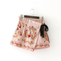 HOT Summer Fashion Women Floral Embroidery Rivet Shorts Skirts Elastic Waist Bow Lace Up Comfortable Fitting